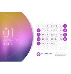 January 2019 desk calendar for 2019 year design vector