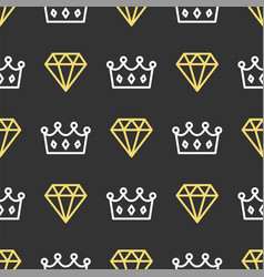 King crown and brilliant on seamless pattern vector