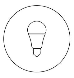 led lightbulb black icon outline in circle image vector image
