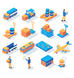 logistics delivery isometric icons vector image