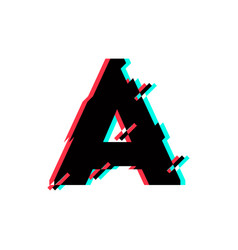 Logo letter a glitch distortion diagonal vector