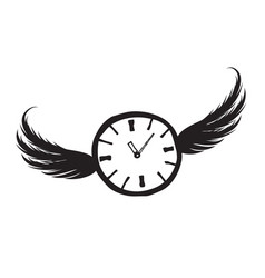 lost time concept doodle watch dial with wings vector image