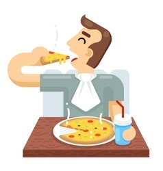 Man Eat Pizza Symbol Icon Concept Isolated Flat vector image