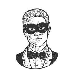 man in black masquerade mask sketch vector image