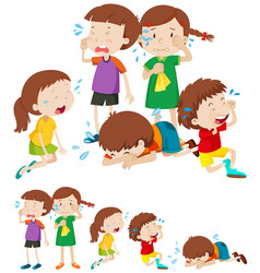 many sad children crying vector image vector image