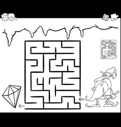 Maze with dwarf and gem for coloring vector