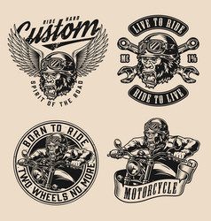 Motorcycle vintage monochrome designs vector