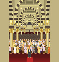 Muslims praying together in a mosque vector