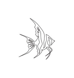 One continuous line drawing cute freshwater vector