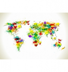 Paint splashes world map vector