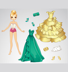 Paper Dall In Green And Gold Dress vector image