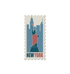 postage stamp with statue liberty vector image