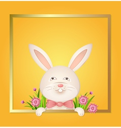 Rabbit with a red bow on a yellow background vector image