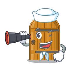 sailor with binocular large wooden door with vector image