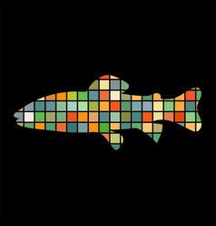 salmon trout fish mosaic silhouette aquatic animal vector image