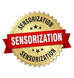 Sensorization round isolated gold badge vector