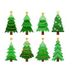 set of flat 8 christmas tree vector image