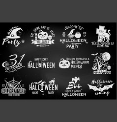 Set of halloween party badges vector