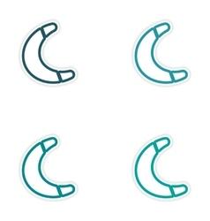 Set of stickers australian boomerang on white vector