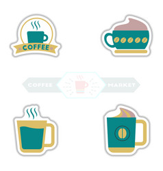 sets of label frames and badges icons coffee vector image