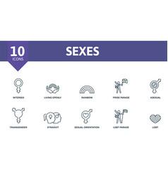 Sexes icon set contains editable icons lgbt theme vector