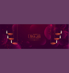 Shiny purple diwali festival banner with hanging vector