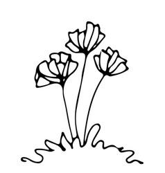 Sketch flowerbed free hand drawing vector