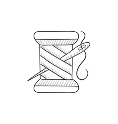 Spool of thread and needle sketch icon vector image