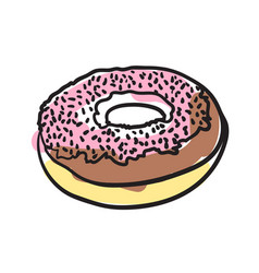sweet donut hand drawn icon vector image