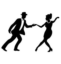 Swing dance negative couple silhouette vector