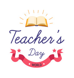 teacher day professional holiday isolated greeting vector image