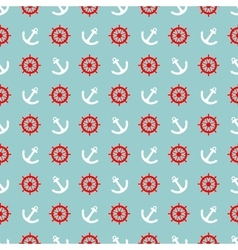 Tile sailor pattern white anchor and red rudder vector