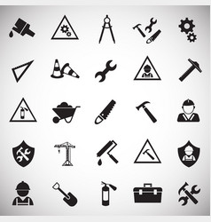 tool and construction set on white background vector image