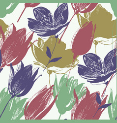 tulip flowers seamless pattern in retro style vector image