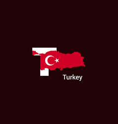 turkey initial letter country with map and flag vector image
