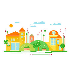 Urban landscape street with buildings and trees vector