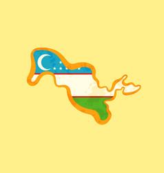 Uzbekistan - map colored with uzbekistani flag vector