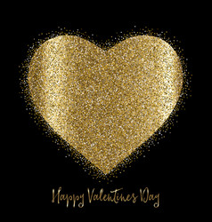 Valentines day background with gold glittery heart vector