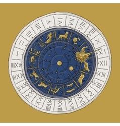Venice zodiac clock sketch for your design vector image