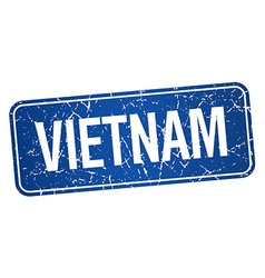 Vietnam blue stamp isolated on white background vector image