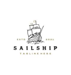vintage retro hipster sailing ship logo design vector image