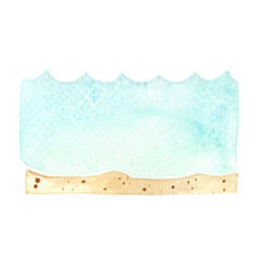 Wave sea and sand beach banner watercolor vector