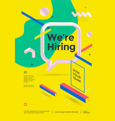 we are hiring poster or flyer design vector image