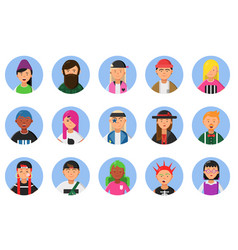 web funny avatars set of different hipsters male vector image
