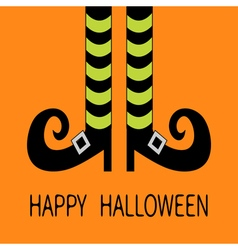 Witch legs with striped socks and shoes Halloween vector image