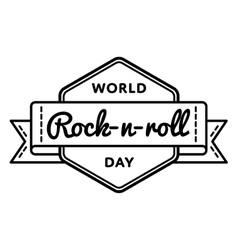 World Rock-n-roll day greeting emblem vector image