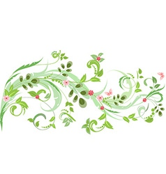 floral ornament with butterflies for your design vector image vector image