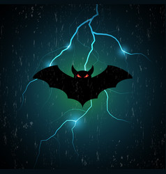 halloween bat fly and thunderbolt vector image vector image