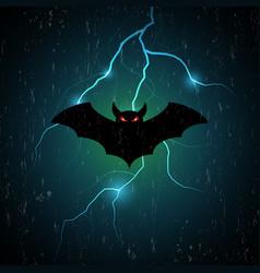 halloween bat fly and thunderbolt vector image