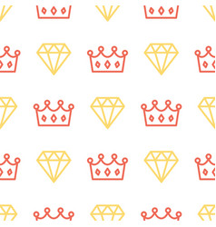 royal crown and brilliant on seamless pattern vector image